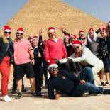 Tour group with santa hats | Egypt at Xmas