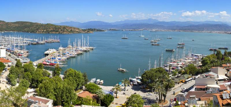 Panoramic view of Fethiye marina in Turkey where we offer a range of day tours and guided excursions