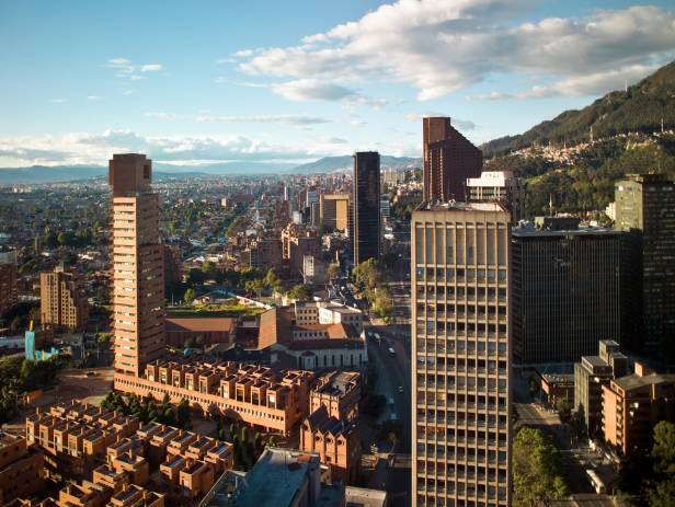 The skyline of the financial district in Bogota, the capital of Colombia