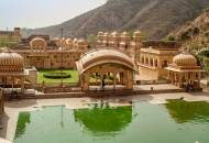 View of the lakes and temple buildings of Galta Temple, also known as Monkey Palace, near Jaipur