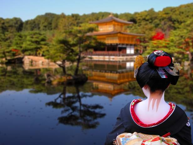 Beautiful lake with a temple in the background in springtime in Kyoto