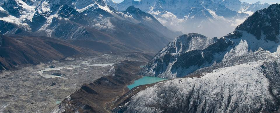 View of the mountains and the turquoise Gokyo Lakes