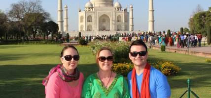 Group in front of Taj Mahal - India Tours - On The Go Tours
