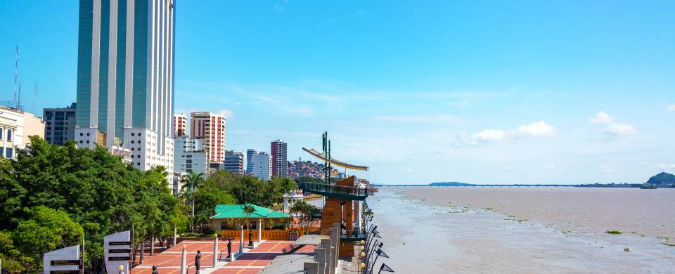 Main strip along the waterfron in Guayaquil