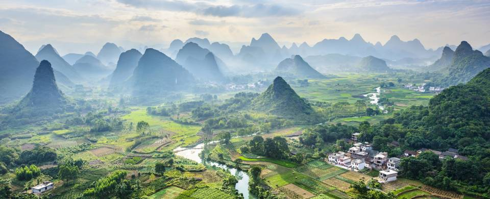 Aerial view of Guilin and the stunning karst landscape