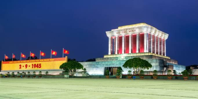 Ho Chi Minh's mausoleum on Ba Dinh Square in Hanoi illuminated at night