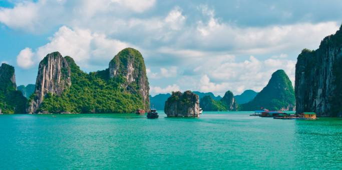 The karst islands of Halong Bay rising from the vivid green waters