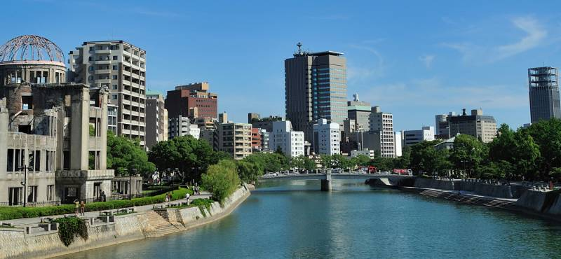 View of the Hiroshima memorial park beside the river