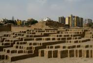 The adobe flat-top pyramid of the pre-Colombian temple complex of Huaca Pucllana in Lima