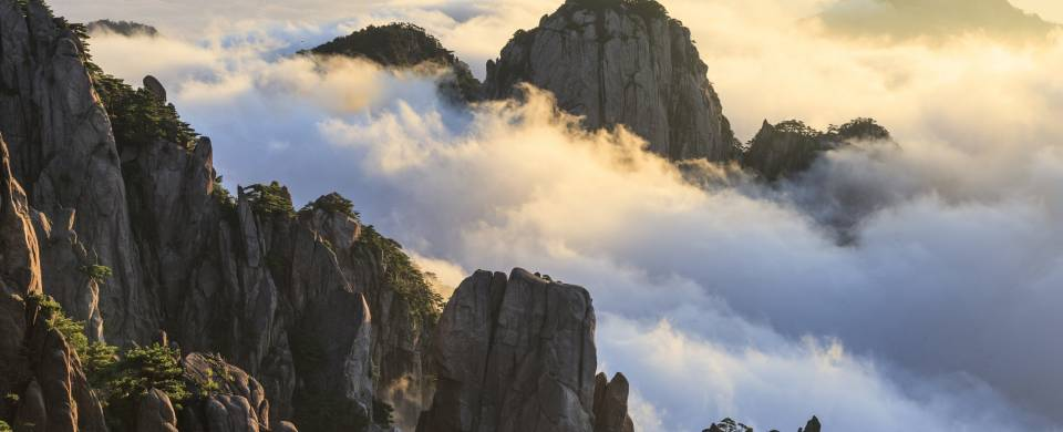 Clouds surrounding the peaks of the Yellow Mountains (also known as Huangshan)