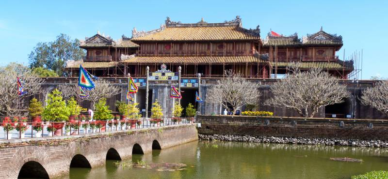 A bridge leading to the Forbidden City in Hue, Vietnam