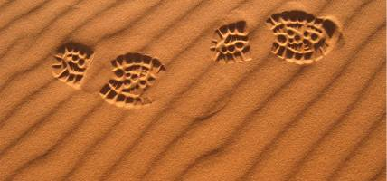 Human footprints in Saharan sand