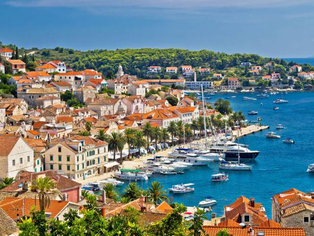 The island of Hvar stretching out into the sparkling blue sea