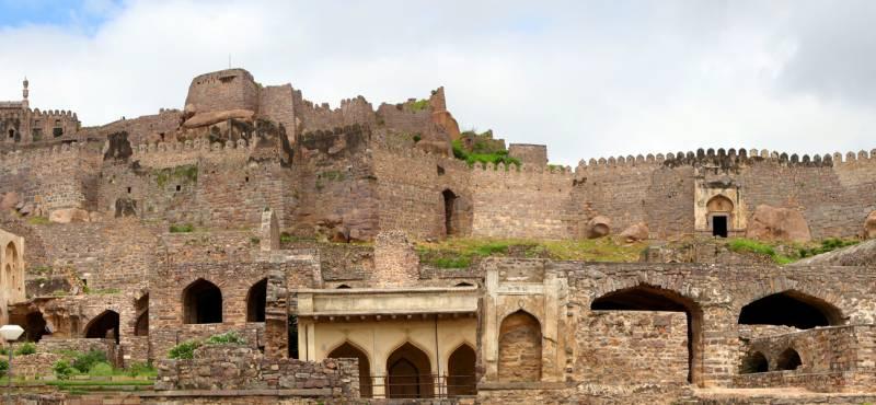 Panoramic view of Historic Golkonda fort in Hyderabad