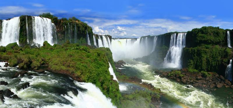 A panoramic view of the spectacular Iguazu Falls in Brazil