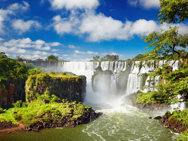 Powerful cascades of white water at Iguazu Falls