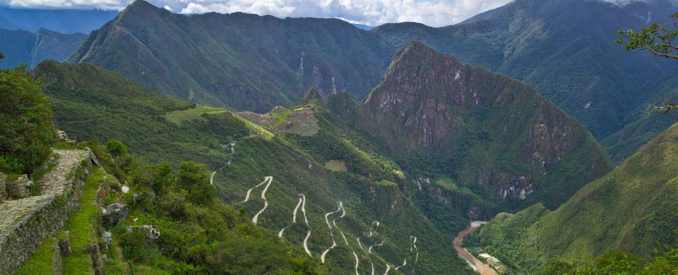 Winding road up the side of a mountain as seen from the Inca Trail