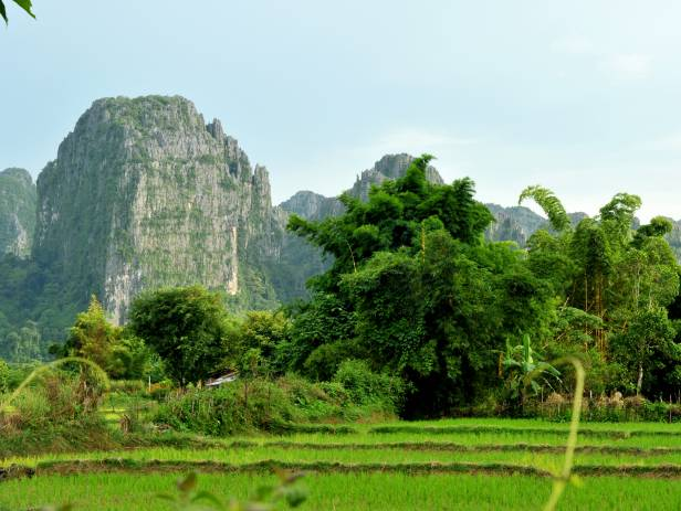 The Blue Lagoon, home to fascinating caves as well as a water swing, in Vang Vieng