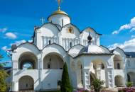 The attractive grounds and whitewashed cathedral of the Intercession Convent in Suzdal