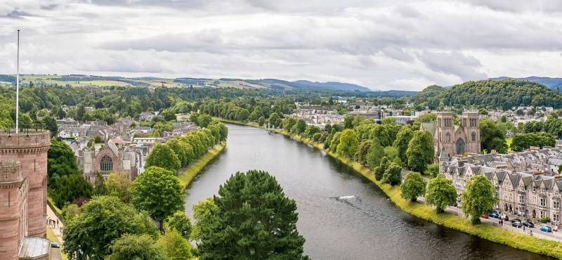 Panoramic view of Inverness on a cloudy summer day in Scotland