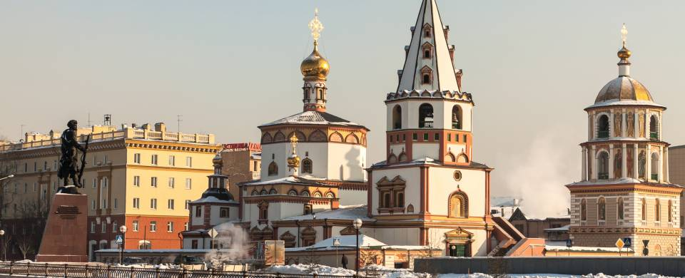 The church-studded cityscape of Irkutsk in Russia's Eastern Siberia