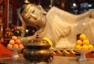 The milky-white jade reclining Buddha housed in Shanghai's Jade Buddha Temple