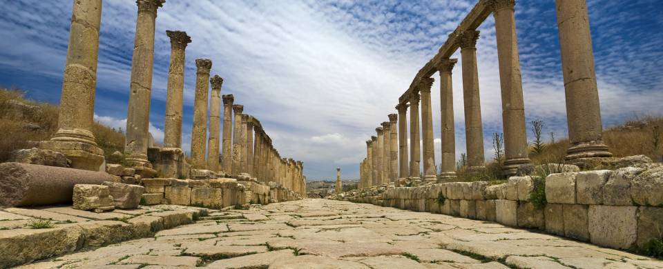 The majestic pillars of the ancient site of Jerash