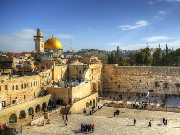 The famous golden Dome, sparkling in the sunset, along with the rest of the city of Jerusalem