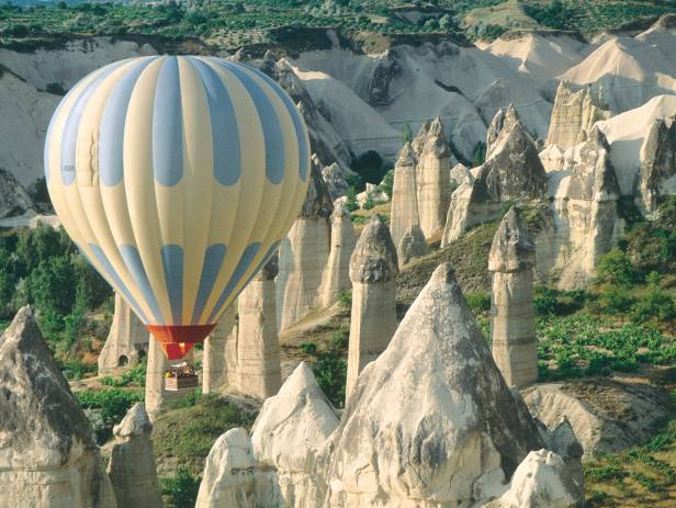 Hot air balloons floating over the stunning landscape of Cappadocia