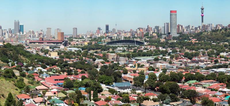 The city skyline of Johannesburg punctuated by skyscrapers