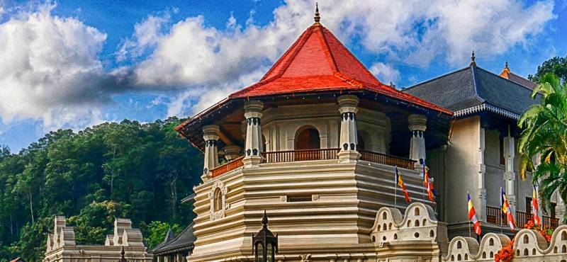 View of the outside of the Temple Of The Sacred Tooth Relic in Kandy, Sri Lanka