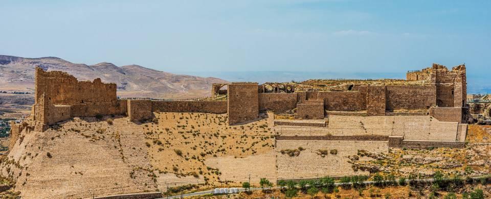 Crusader fort atop a hill in Karak