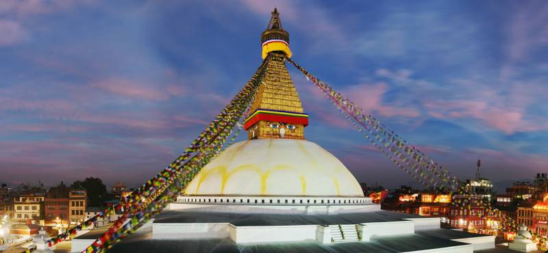 Evening view of Bodhnath stupa in Kathmandu, Nepal