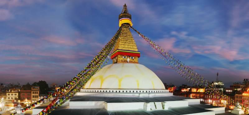 Evening view of Bodhnath stupa in Kathmandu, Nepal