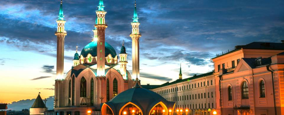 Beautiful white and blue mosque in Kazan