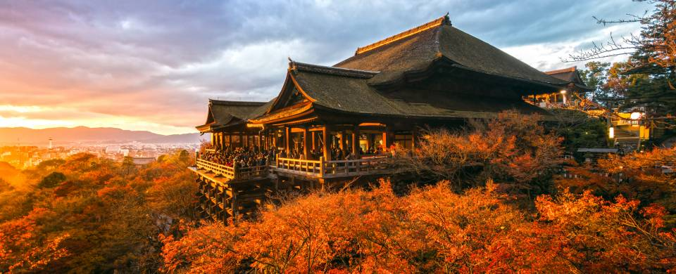 Forest in rich autumn colours, surrounding Kiyomizu-Dera temple in Kyoto