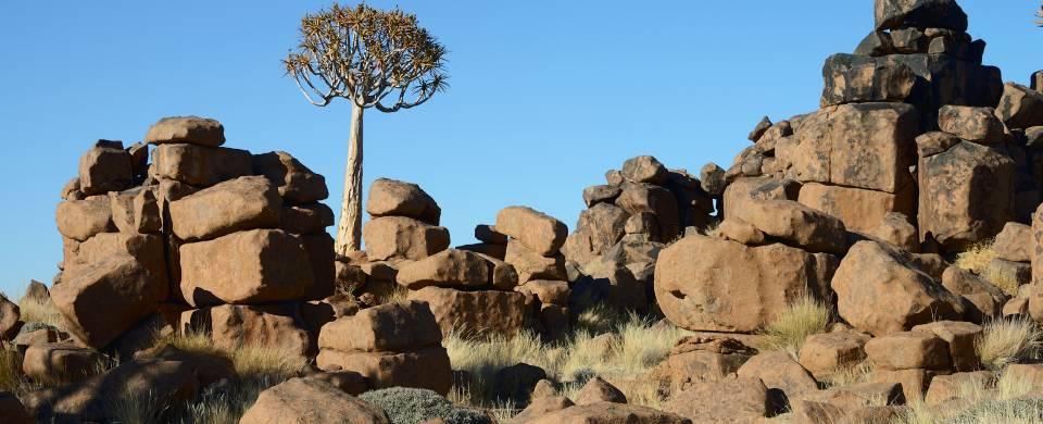 Devil's Playground rocks against a beautiful blue sky in Kleetmanshoop