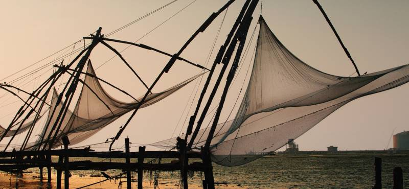 The Chinese fishing nets that line the waterfront of Kochi