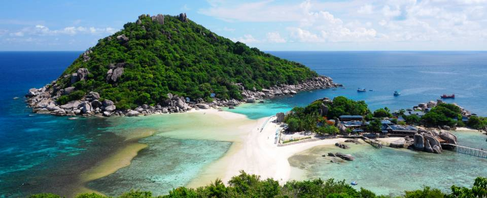 The sandy strip between two parts of Koh Tao, one of Thailand's best diving spots