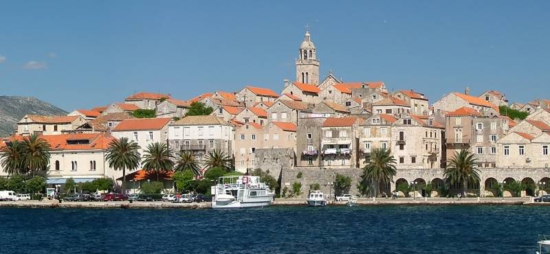 A panoramic view of the fortified city of Korcula in Croatia