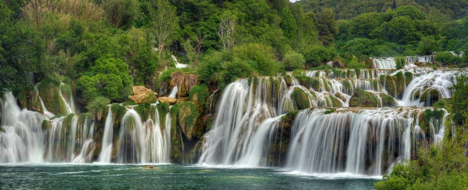 Rippling cascade of Skradinski Buk waterfalls at Krka National Park