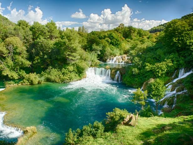 Rippling cascade of Skradinski Buk waterfalls at Krka National Park
