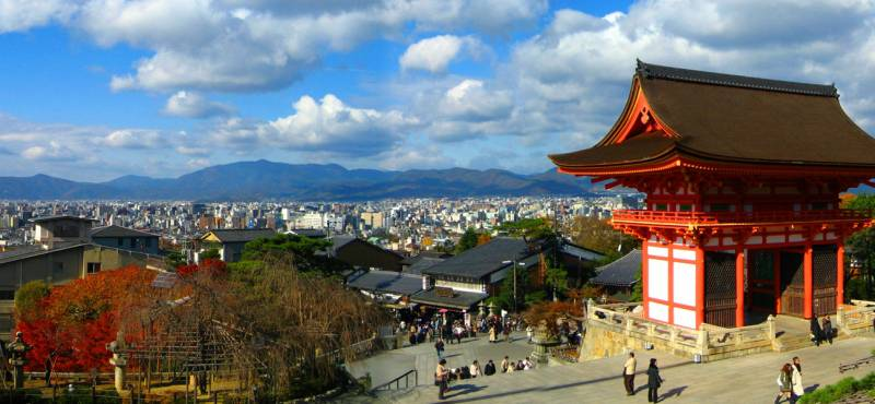 Kiyomizu-dera Temple of Kyoto with a view overlooking the city