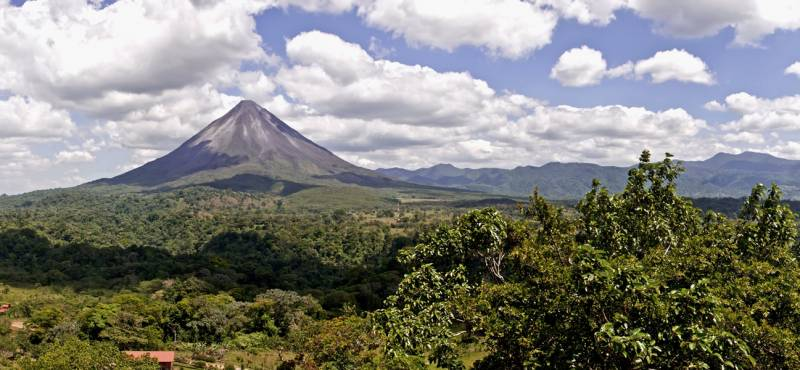 A panoramic view of Arenal Volcano near La Fortuna in Costa Rica