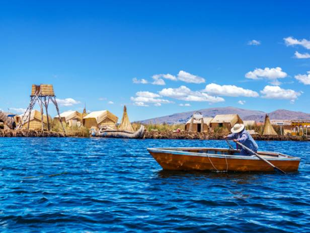 Traditional reed boats on the water of the Lake Titicaca