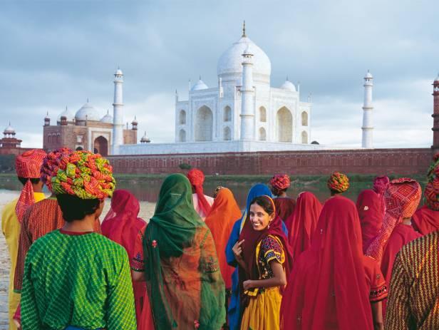 The Taj Mahal reflected in the water in Agra