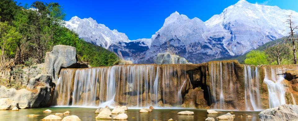 Beautiful waterfall and scenery in Lijiang