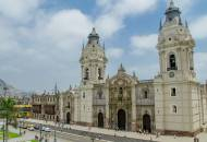 The imposing facade of Lima's Catedral located on Plaza Mayor in the historic centre