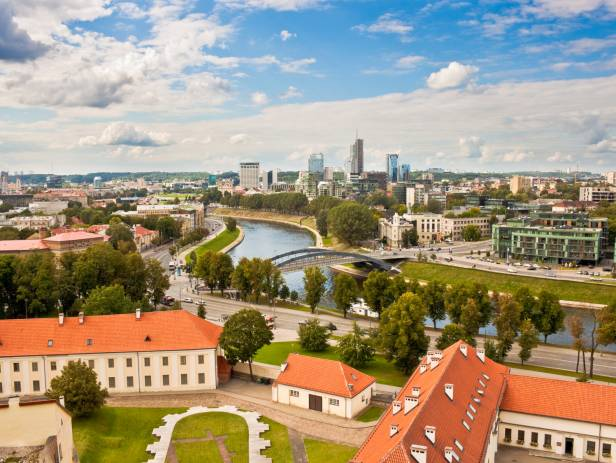 Vilnius skyline with hot air balloons