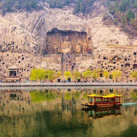 Longman Grottos from river in Luoyang - China Tours - On The Go Tours